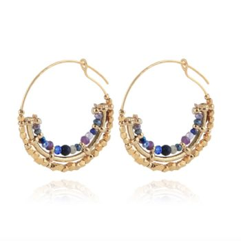 GAS-BIJOUX-COMEDIA-SERTI-HOOP-EARRINGS-GOLD-BLUE-AMETHISTE www.buddha-ibiza.nl.