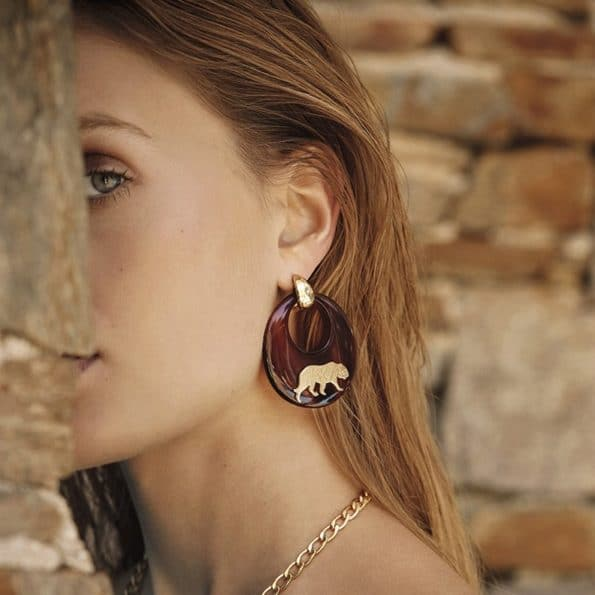 GAS-BIJOUX-TIGER-EARRINGS-ACETATE-GOUD-185771-O www.buddha-ibiza.nl