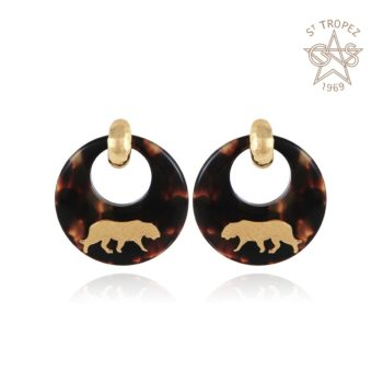 GAS-BIJOUX-TIGER-EARRINGS-ACETATE-GOUD-185771 www.buddha-ibiza.nl