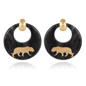 GAS-BIJOUX-OORBELLEN-TIGER-EARRINGS-ACETATE-GREY-GOLD-01 www.buddha-ibiza.nl