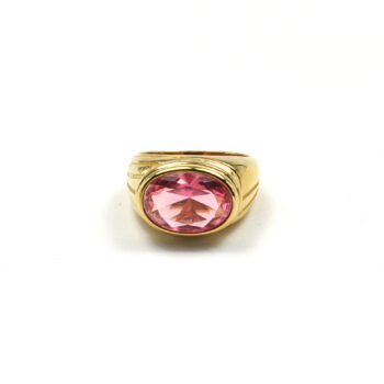 TIMELESS-PEARLY-RING-CHUNKY-PINK-CRYSTAL-GOUD-01 www.buddha-ibiza.nl