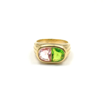 TIMELESS-PEARLY-RING-PINK-AND-GREEN-CRYSTALS-GOUD-01 www.buddha-ibiza.nl